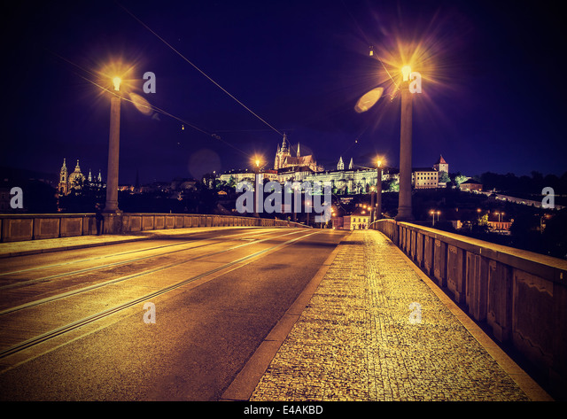 Prague by night, Czech Republic. - Stock-Bilder