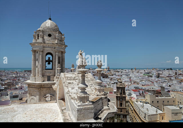 Bell Tower,Cadiz Cathedral (Catedral de Santa Cruz de Cádiz), Plaza Catedral, Cadiz, Spain - Stock Image
