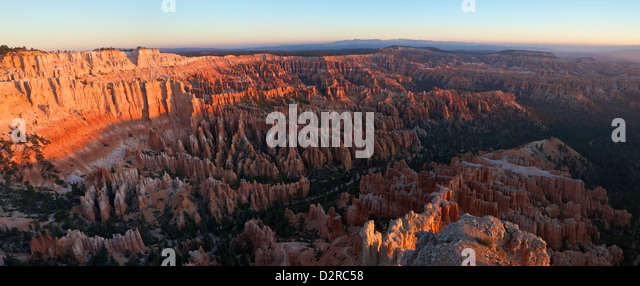 Panoramic photo of sunrise from Bryce Point, Bryce Canyon National Park, Utah, United States of America, North America - Stock Image