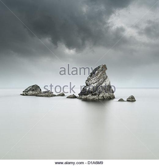 The angular sea stacks of the Mupe Rocks, Worbarrow Bay, Dorset, England - Stock Image