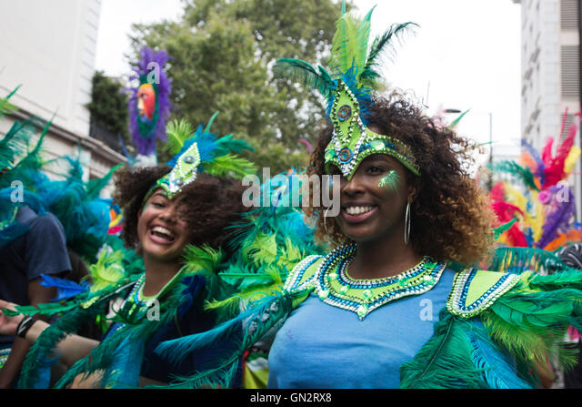 London, UK. 28 August 2016. Participants from Sunshine International. Children and teens take part in the annual - Stock-Bilder