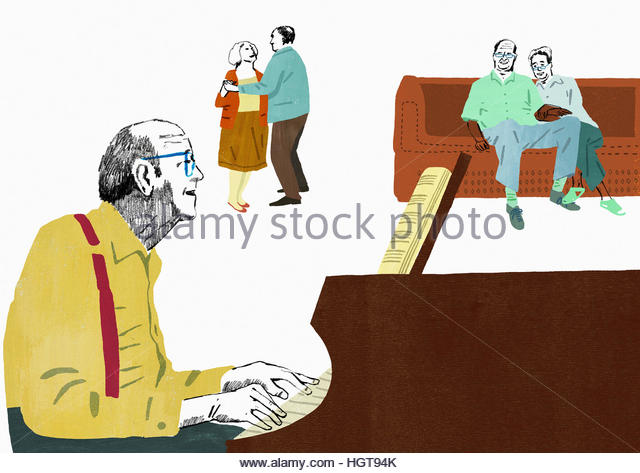 Older people playing piano, listening to music and dancing - Stock-Bilder