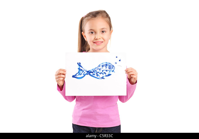 Portrait of pretty girl with drawing of fish looking at camera - Stock Image