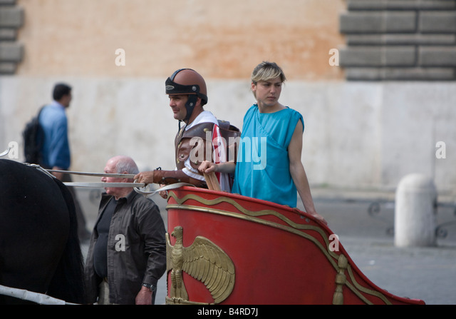Centurion on a horse in the Piazza del Popolo in Rome, Italy - Stock Image