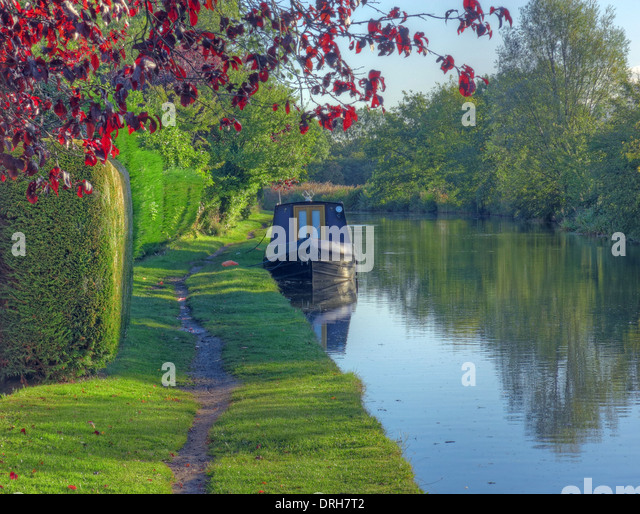 Grappenhall spring Bridgewater canalside scene, Cheshire, england, UK - Stock Image