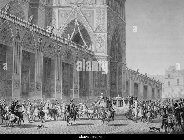Coronation of Napoleon I, 2 December 1804. Arrival of the Emperor's coach at Notre Dame, Paris. Engraving. - Stock-Bilder