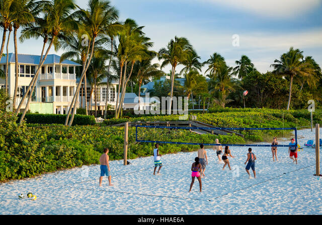 Volleyball at the beach in Naples, Florida, USA - Stock Image