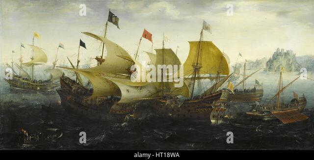 Battle of Cadiz (Dutch and English Ships Attack the Spanish Armada), 1608. Artist: Aert Anthonisz., (Aert van Antum) - Stock Image