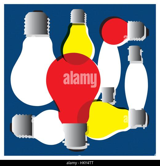 Illustration of a collection of old style light bulbs, in red, yellow and pearl. In candle, golf ball and normal - Stock Image