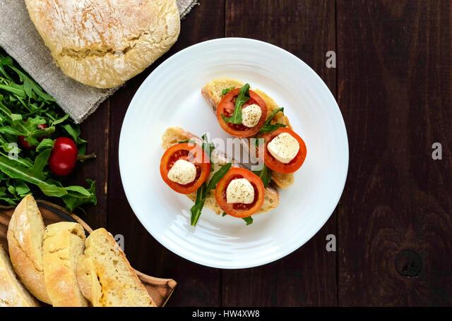 Italian Bruschetta Tomatoes Mozzarella Cheese Stock Photos ...
