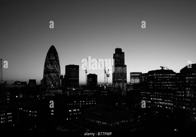 City of London skyline at sunset - Stock Image