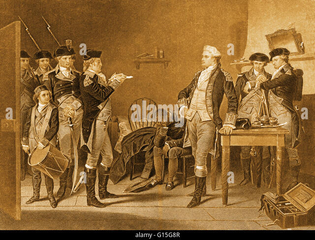 The death warrant of Major John Andre in 1780. 'He placed his hat on the table and cheerfully said, 'I am - Stock Image
