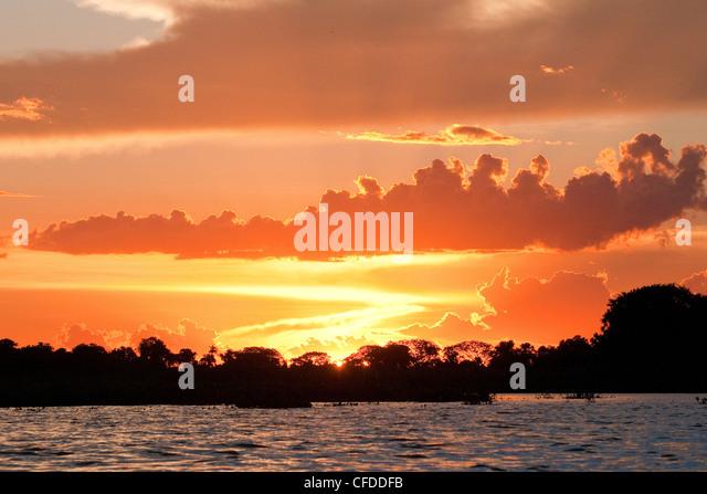 Sunset, Pantanal wetlands, Southwestern Brazil, South America - Stock Image