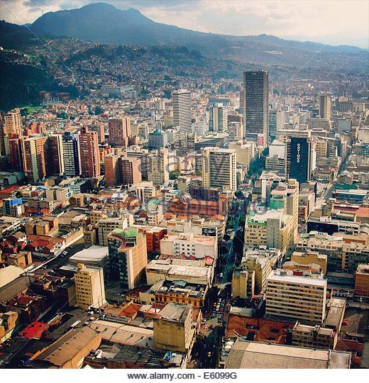 View of downtown Bogota along Calle 7 from the top of the Colpatria Tower - Stock Image