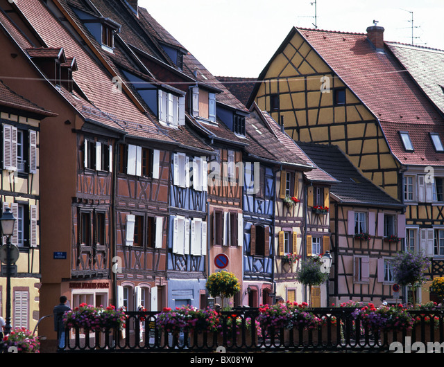 Colmar Alsace half-timbered houses France Europe terrace - Stock Image