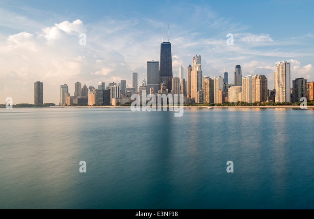 City skyline and Lake Michigan, Chicago, Illinois, United States of America - Stock Image
