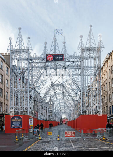 ... Street The Royal Mile Edinburgh Scotland Xmas 2015 seen from east end