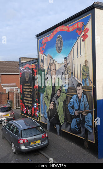 Ulster Volunteers Unionist mural, off Shankill Road West Belfast,Northern Ireland,UK - Stock Image