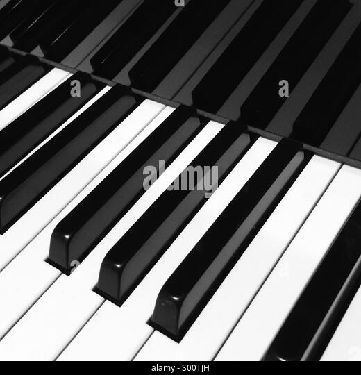 The contrasting black-and-white keys of a piano keyboard. - Stock Image