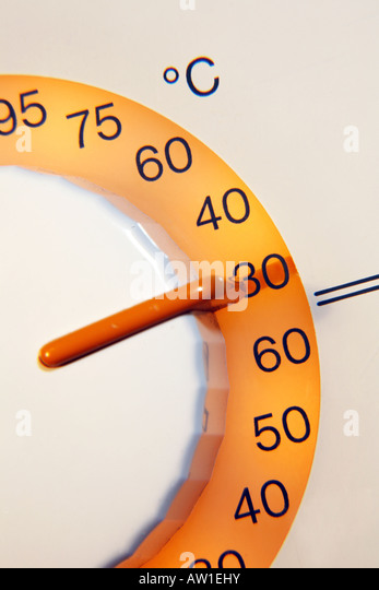 Washing machine dial set at 30 degrees centigrade Low temperature wash - Stock Image