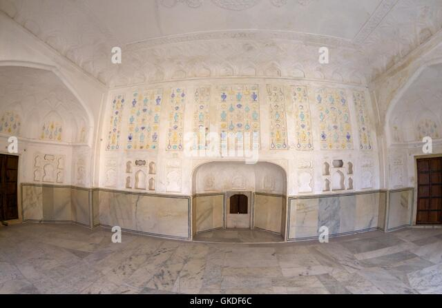Frescoes, Sukh Mandir Diwan-I-Khas Pleasure Palace, Amber Fort Palace, Jaipur, Rajasthan, India, Asia - Stock Image