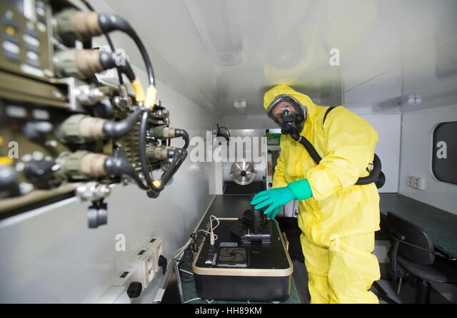 Pardubice, Czech Republic. 18th Jan, 2017. The Czech military presented its mobile laboratory that is equipped to - Stock Image