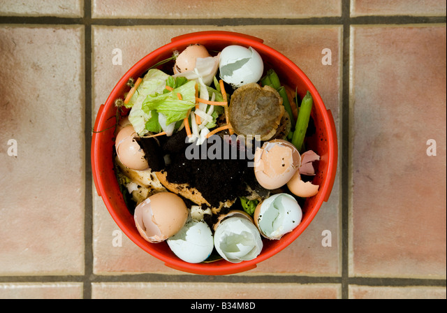 Kitchen waste ready for composting, Bawdsey, Suffolk, UK. - Stock Image