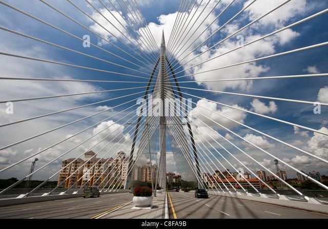 Malaysia, Asia, close, near, Kuala Lumpur, Putrajaya, Seri Wawasan bridge, bridge, moulder, street, architecture - Stock Image