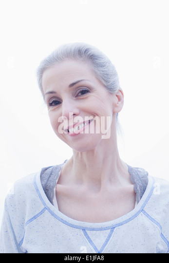 Portrait of happy mature woman - Stock Image