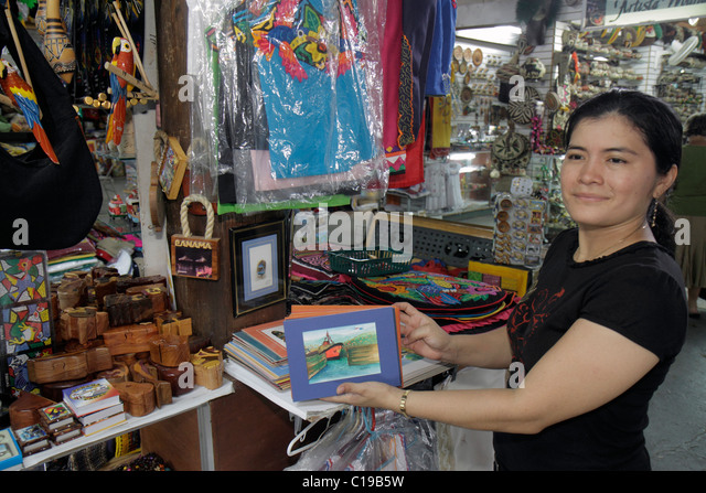 Panama City Panama Balboa Centro de Artesenias shopping handicrafts business merchandise souvenirs display store - Stock Image