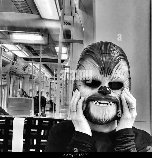 Chewbacca on a train - Stock-Bilder
