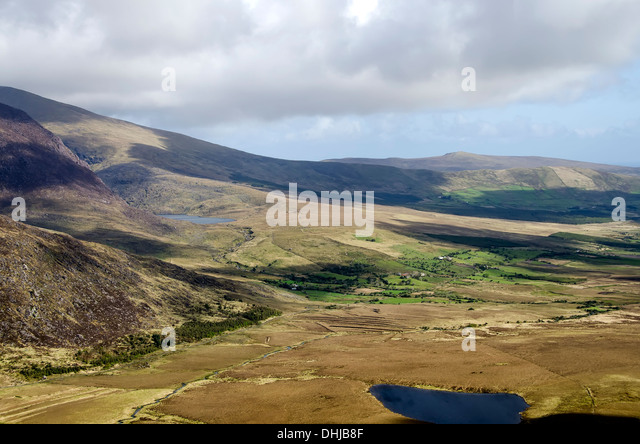 Conor Pass is the highest mountain pass in Ireland, Dingle Peninsula, Ireland - Stock Image