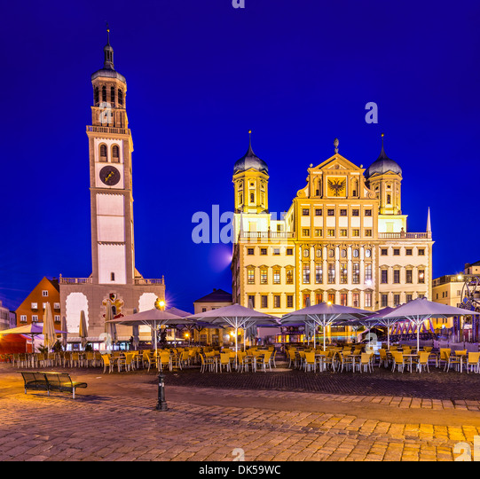 Augsburg, Germany townscape at Rathausplatz. - Stock Image