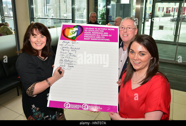 Armagh City, UK. 15th February 2017. Fermanagh and South Tyrone Sinn Féin Election Candidates Michelle O'Neill, - Stock Image