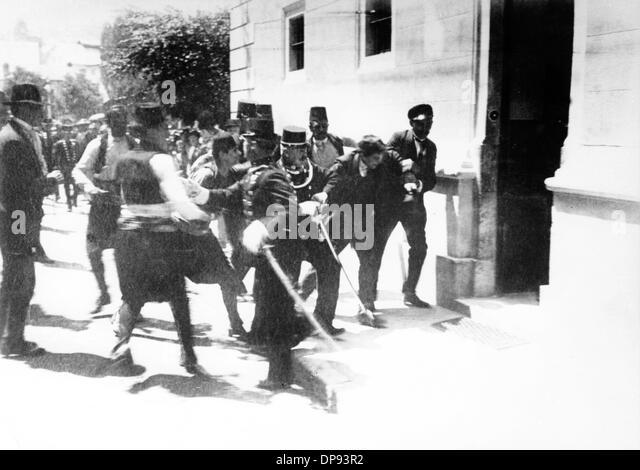 The assassins of the Austrian heir presumptive to the Austro-Hungarian throne Archduke Franz Ferdinand, Nedeljko - Stock-Bilder