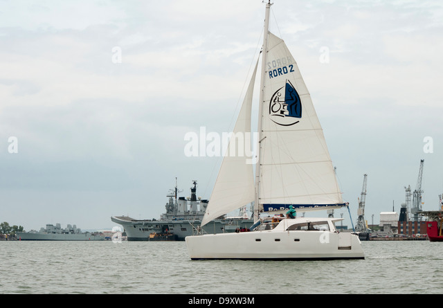 Ro Ro 35 foot accessible catamaran for disabled sailing in Portsmouth Harbour UK - Stock Image