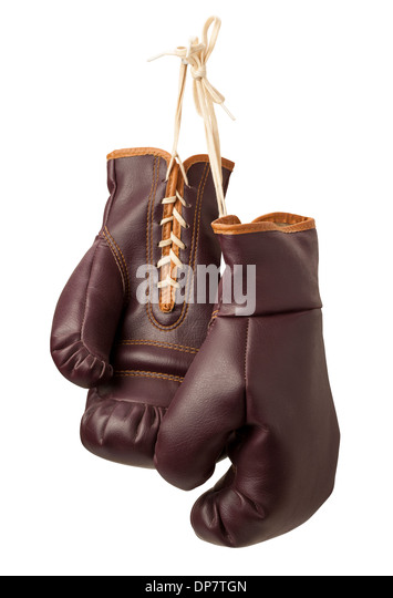Vintage Boxing Gloves isolated on a white background - Stock Image