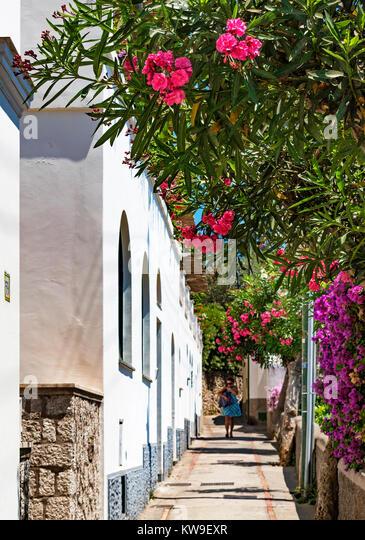 narrow street via strada on the island of cpari, italy. - Stock Image