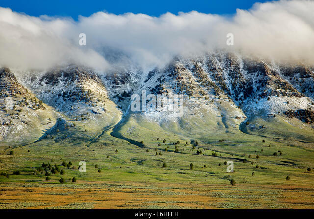 Steens Mountain and fresh snowfall. Oregon - Stock Image