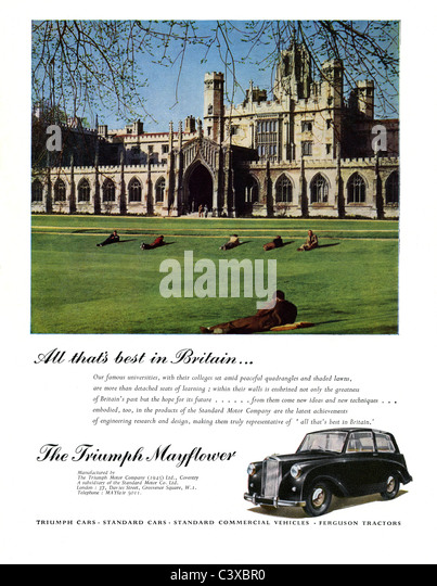 Advertisement for the Triumph Motor Company's car The Triumph Mayflower, from The Festival of Britain guide, - Stock-Bilder
