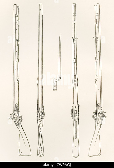 Old Brown Bess. Regulation muskets and socket bayonet. - Stock Image