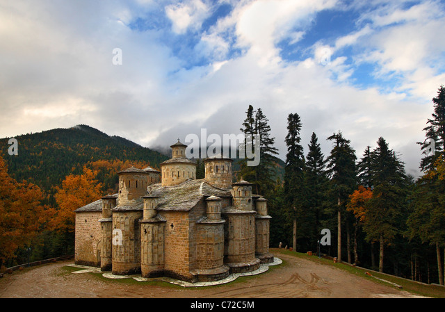 Doliana (or 'Dolianon') monastery in Aspropotamos region, Trikala Prefecture, Thessaly, Greece - Stock-Bilder