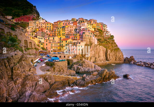 Manarola at sunset time, Cinque Terre National Park, Liguria, Italy, UNESCO - Stock Image