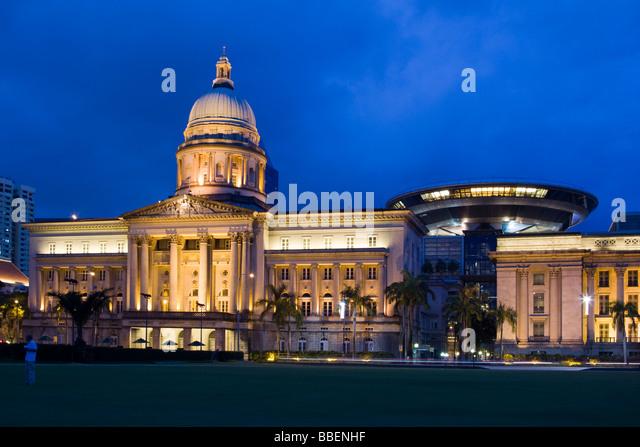 City Hall at twilight Singapore Singapur Asia - Stock Image