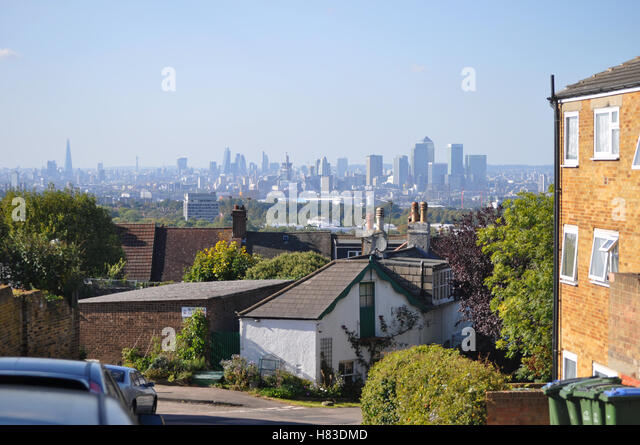 London skyline from Shooters Hill, Woolwich - Stock Image