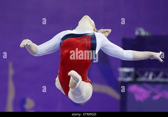 Baku, Azerbaijan. 15th June, 2015. Russia's Aliya Mustafina competes on the beam during the Artistic Gymnastics - Stock-Bilder