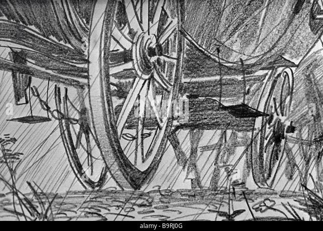 Reproduction of Gennady Yepishin s illustration to the short story Night Stagecoach by Konstantin Paustovsky - Stock Image