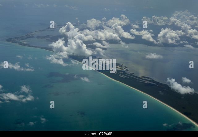 Aerial view of Cumulus clouds over Paso Xolul park in Yucatan Peninsula Quintana Roo Mexico Dzilam-Ria Lagartos - Stock Image