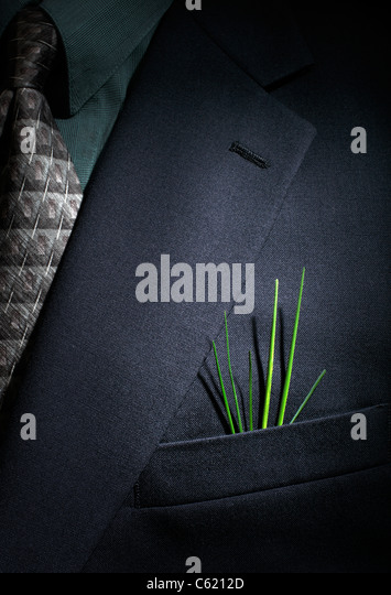 Grass growing from Businessman's pocket - Stock Image
