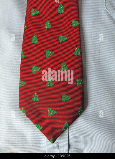 Interesting Xmas vintage tie, male neckware in silk - Stock Image